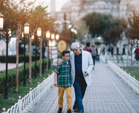 Grandfather and grandson sightseeing Istanbul