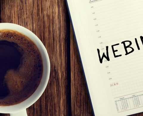 Webinar. Reminder In The Calendar. Coffee With Calendar And Pencil On A Wooden Countertop. Reminder About Training.