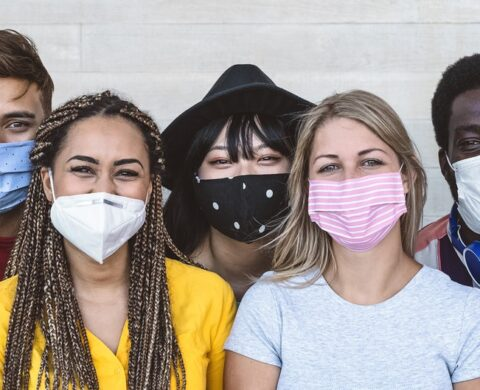 Group Young People Wearing Face Mask For Preventing Corona Virus Outbreak Millennial Friends With Different Age And Culture Portrait Coronavirus Disease And Youth Multi Ethnic Concept